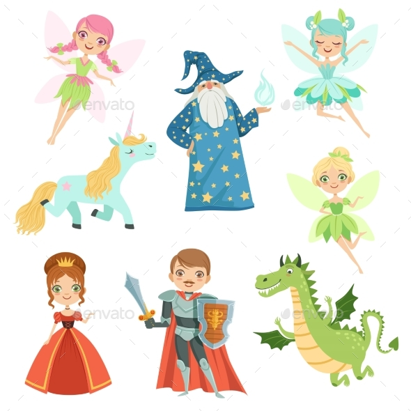 GraphicRiver Fairytale Characters Set in Different Costumes 20554285