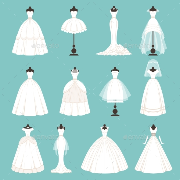 Different Styles of Brides Dresses. Vector - Objects Vectors