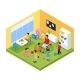 Isometric Children in Kindergarten Concept