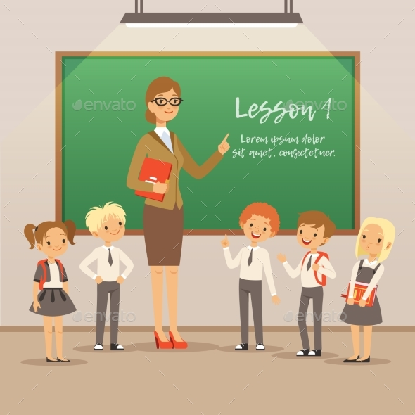 GraphicRiver Children with Teacher on the Lesson in Classroom 20554293