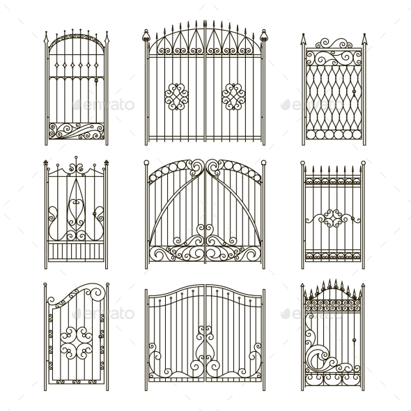 GraphicRiver Iron Gates with Decorative Elements Vector 20554310