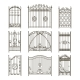 Iron Gates with Decorative Elements. Vector