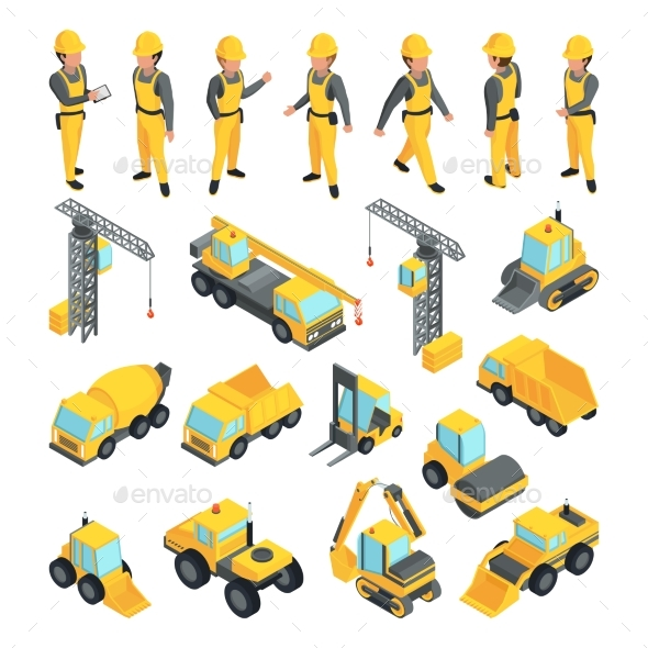 GraphicRiver Transport and Workers for Construction Buildings 20554412