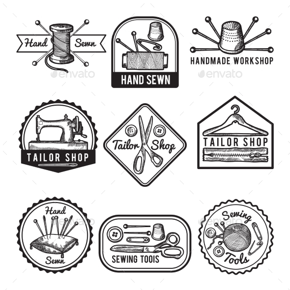 Different Monochrome Labels for Sewing or Tailor - Decorative Symbols Decorative