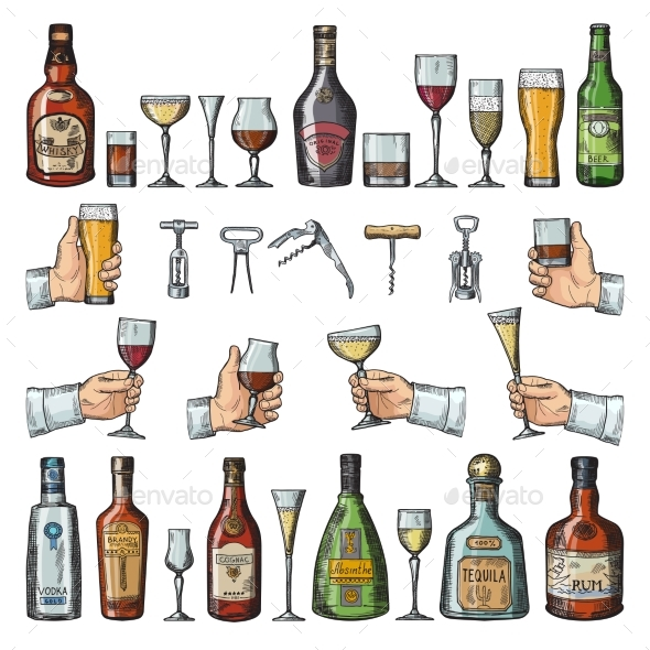 Set of Alcoholic Symbols - Man-made Objects Objects
