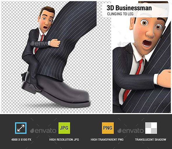 3D Businessman Clinging to Leg - Characters 3D Renders