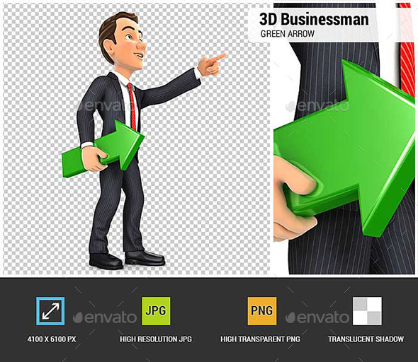 GraphicRiver 3D Businessman Holding Green Arrow and Pointing Direction 20554558