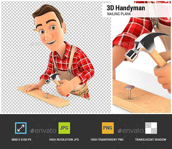 GraphicRiver 3D Handyman Nailing Wooden Plank with Hammer 20554570