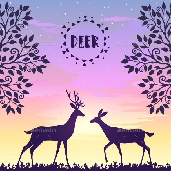 GraphicRiver Deer Sunset 20554732