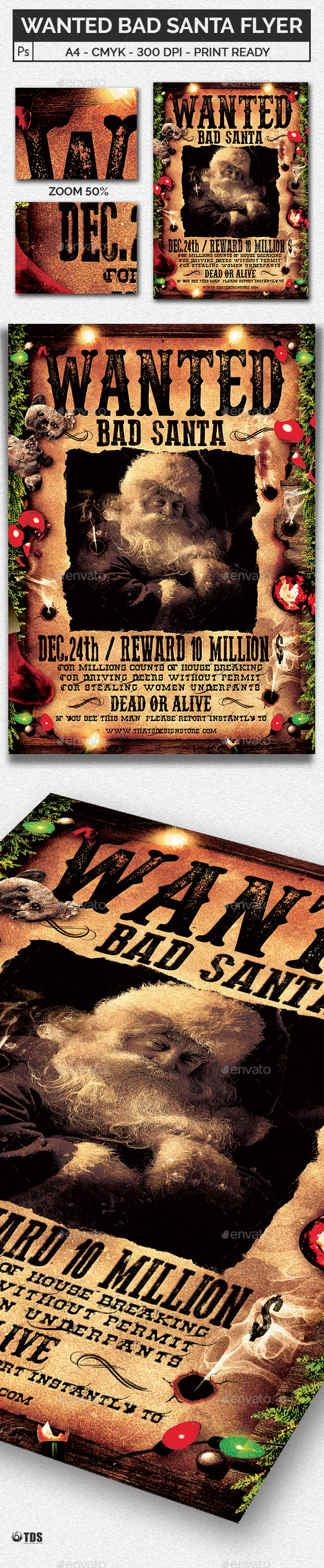 Wanted Bad Santa Flyer Template - Holidays Events