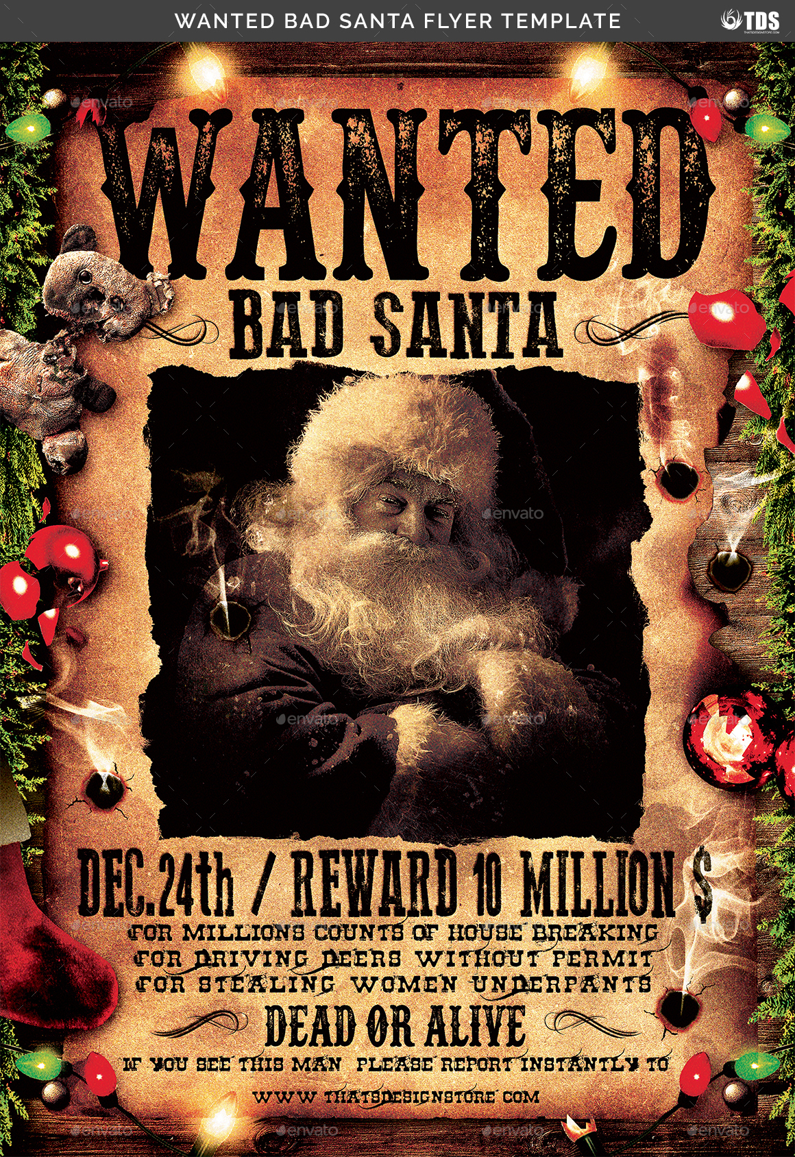 ... Bad Santa Flyer Template  Help Wanted Flyer Template