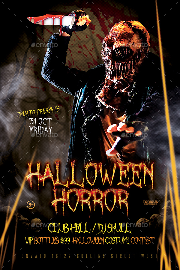 halloween horror flyer template by take2design