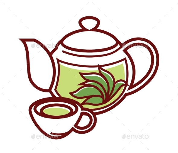 GraphicRiver Teapot with Herbal Tea and Cup Vector Isolated 20555147