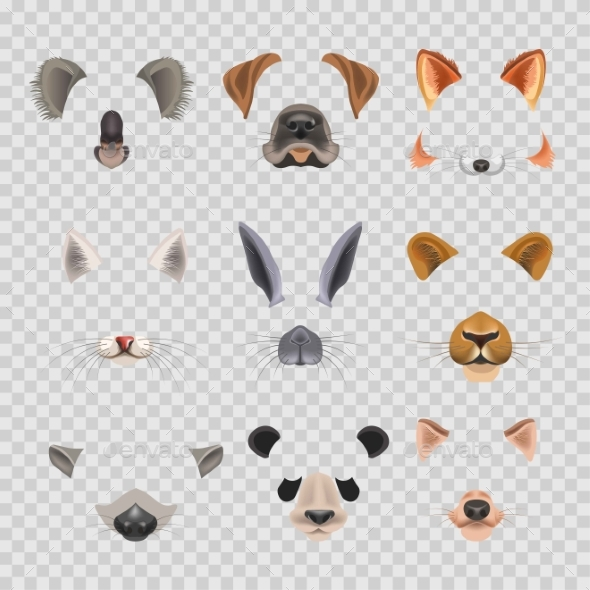 GraphicRiver Video Chat Effects Animal Faces Flat Icons 20555151