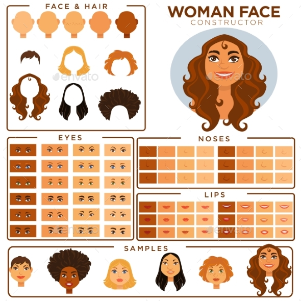 Woman Face Constructor - People Characters