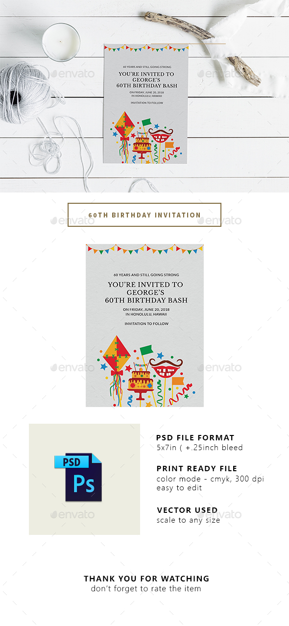 60th Birthday Party Invitation - Invitations Cards & Invites