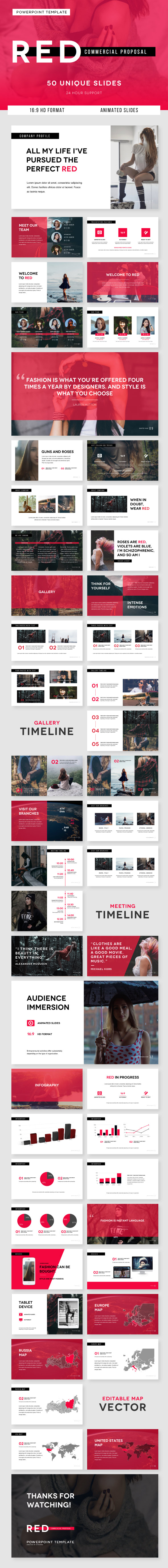 GraphicRiver RED Commercial Proposal PowerPoint Template 20555282