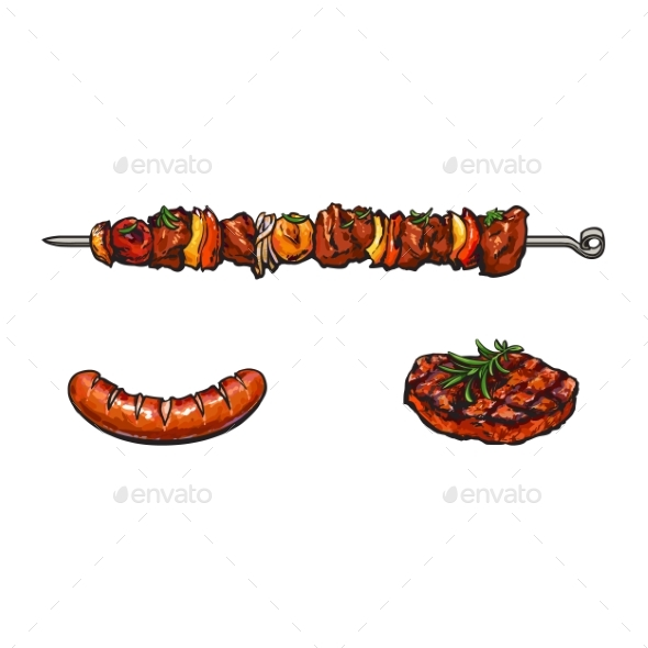 Grilled  Barbecued Meat - Food Objects