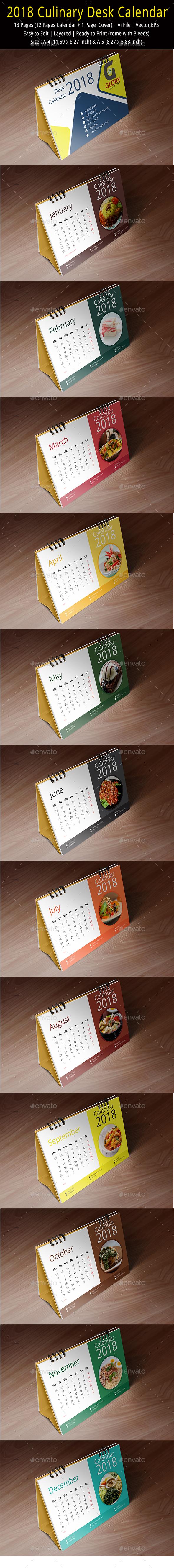 Culinary Desk Calendar 2018 - Calendars Stationery