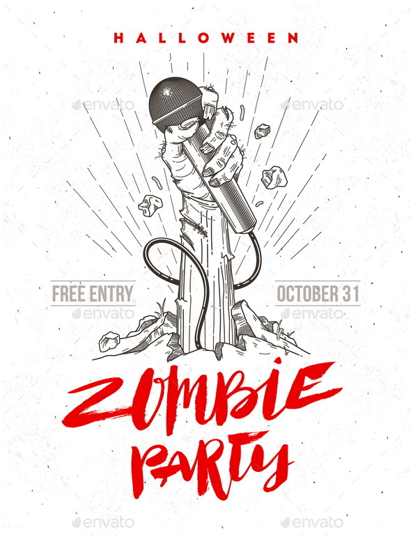 Halloween Zombie Party Poster or Greeting Card - Halloween Seasons/Holidays