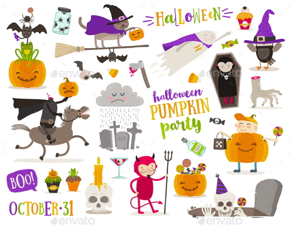 Set of Halloween Symbols and Characters - Halloween Seasons/Holidays
