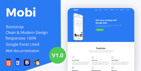 ThemeForest Mobi App Landing Page 20447593