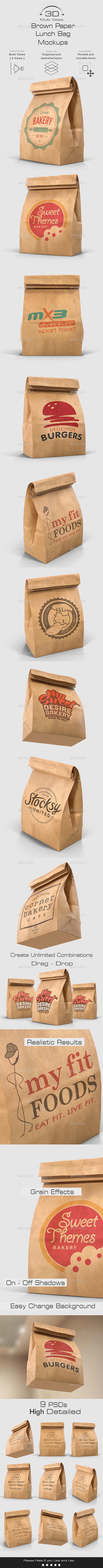 Brown Paper Lunch Bag Mockups - 3D Multi Views - Food and Drink Packaging