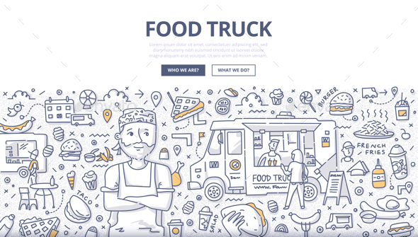 Food Truck Doodle Concept - Industries Business