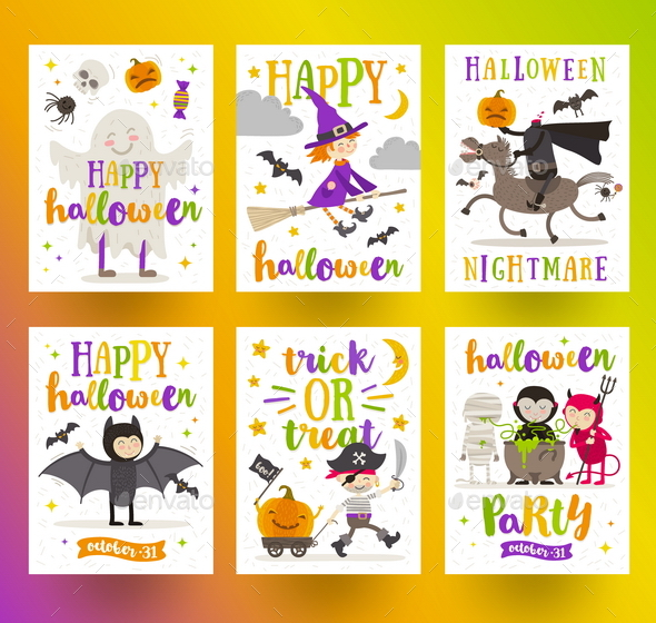 Set of Halloween Posters or Greeting Card - Halloween Seasons/Holidays