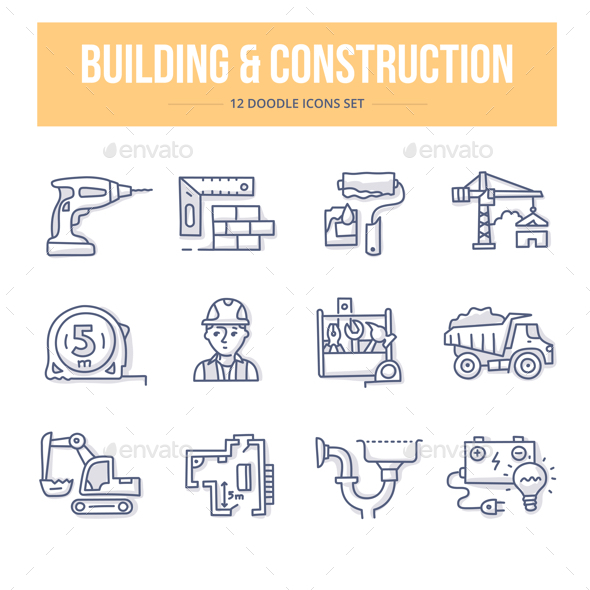 GraphicRiver Building & Construction Doodle Icons 20556130