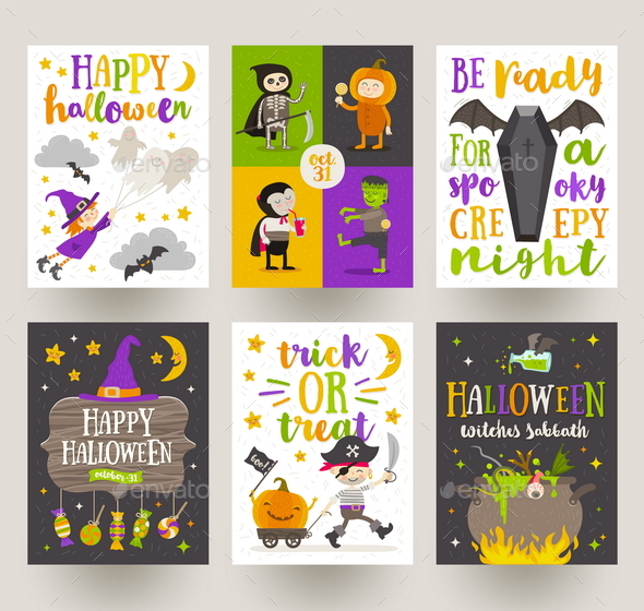 GraphicRiver Set of Halloween Posters or Greeting Card 20556199