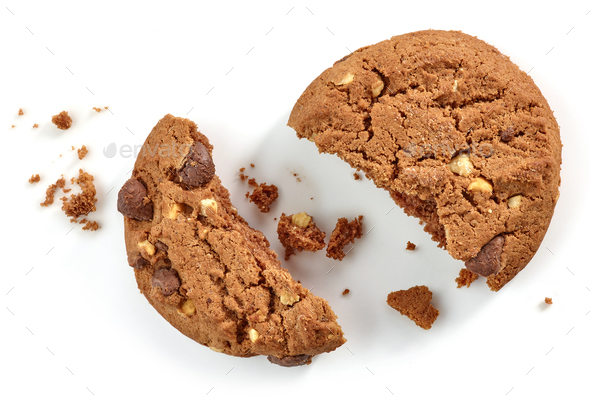 Chocolate cookie pieces and crumbs - Stock Photo - Images
