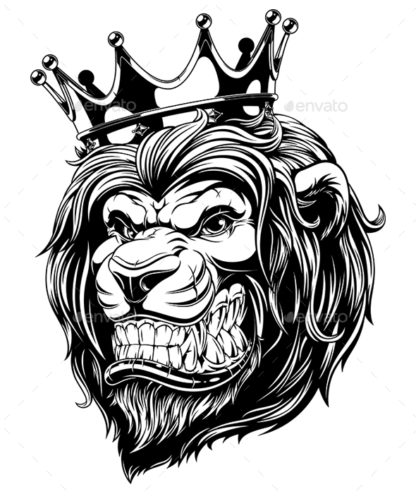 GraphicRiver Head of a Lion in the Crown 20556292