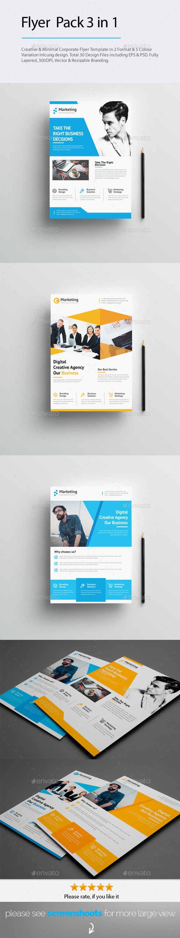 GraphicRiver 3 in 1 Flyers Popular Items Bundle 20556301