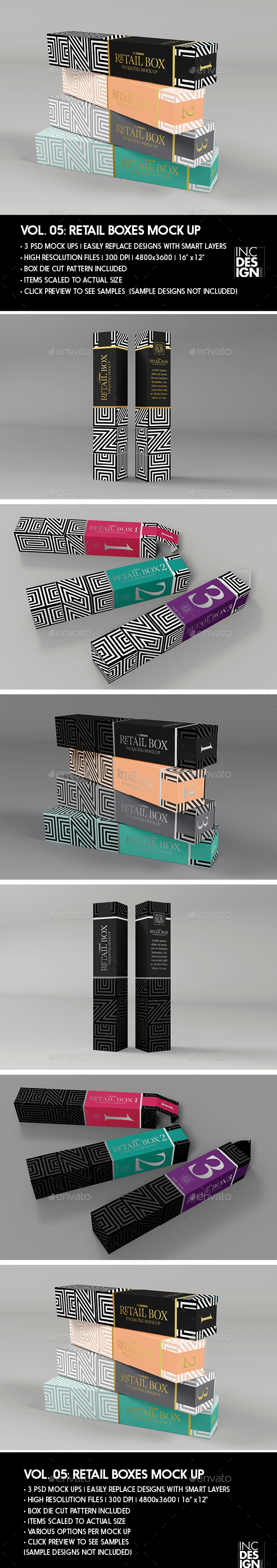 GraphicRiver Retail Boxes Vol.5 Narrow Cosmetic or Perfume Box Packaging Mock Ups 20556328