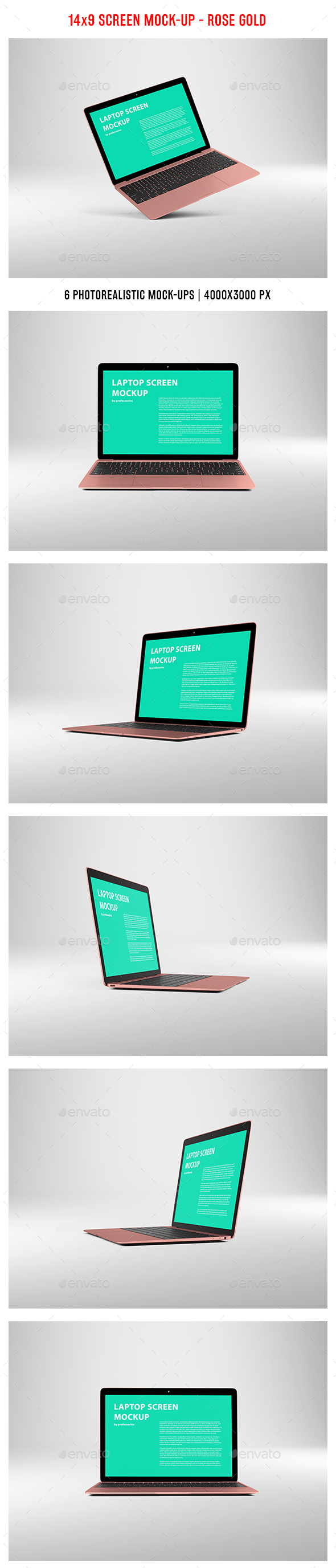 14x9 Screen Mock-Up - Rose Gold - Laptop Displays