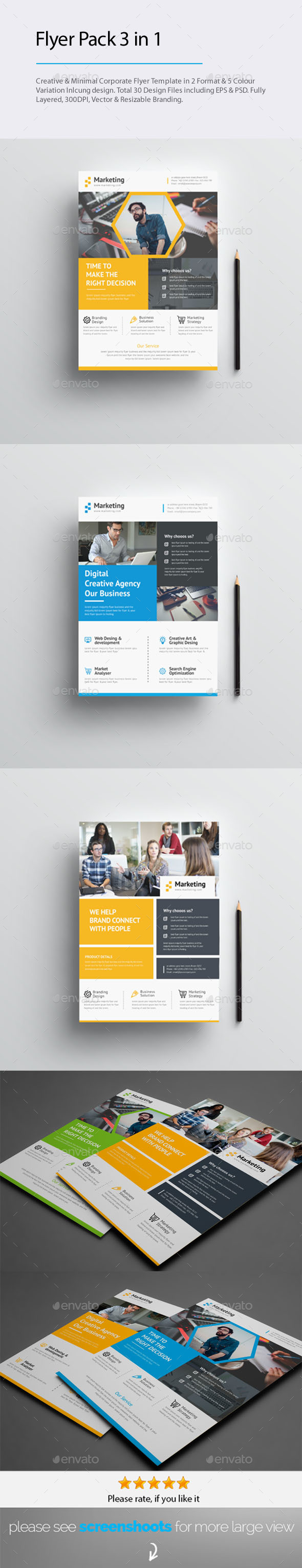 GraphicRiver 3 in 1 Flyers Popular Items Bundle 20556356