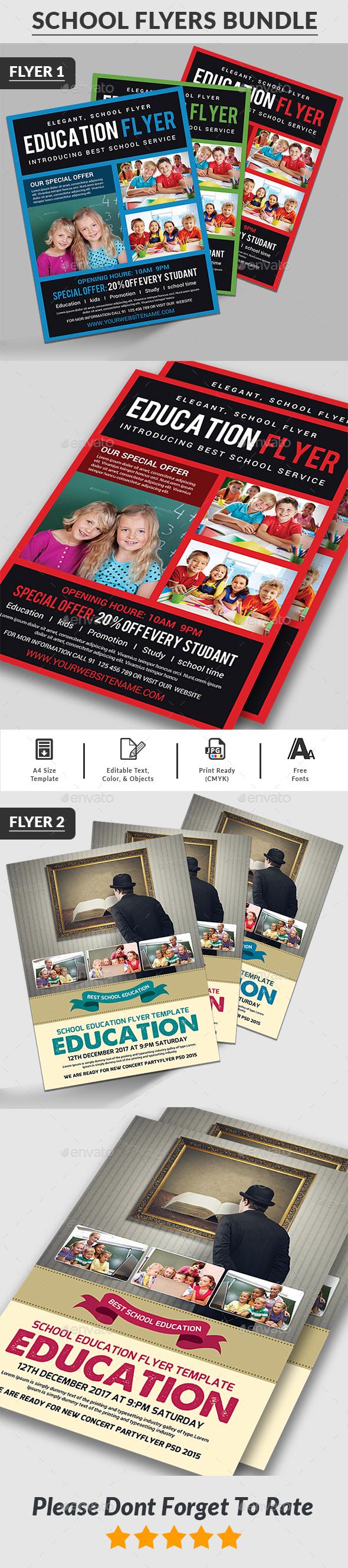 GraphicRiver Education Flyers Bundle Templates 20556431