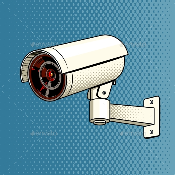 GraphicRiver Surveillance Camera on the Wall Pop Art Vector 20556466