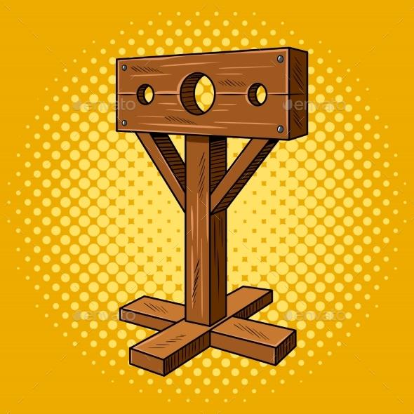 Stocks Medieval Instrument Torture Pop Art Vector - Miscellaneous Vectors