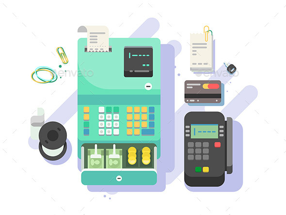 Cash Machine with Money and Terminal for Cards - Miscellaneous Vectors