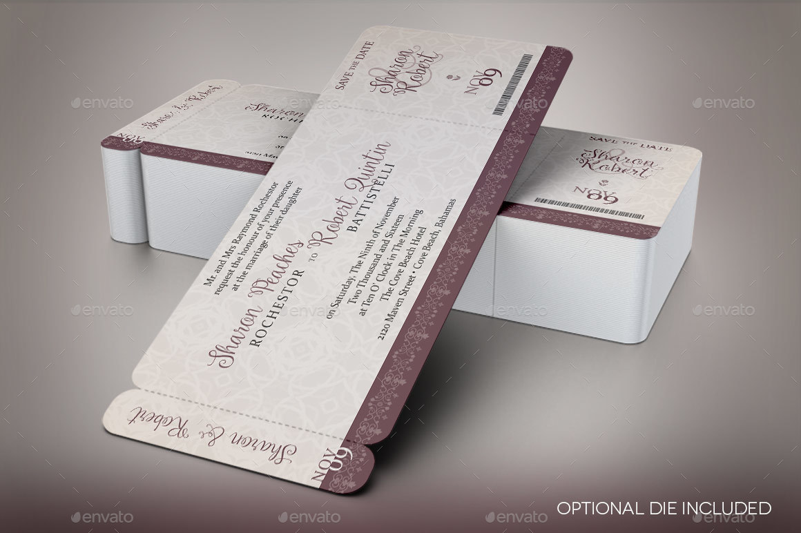 Vintage Boarding Pass Invitation Template By Godserv2 Graphicriver