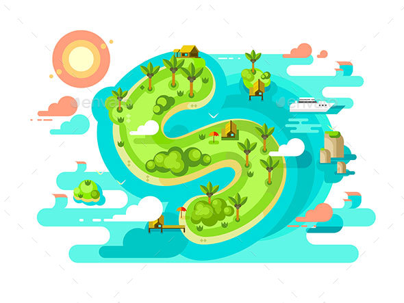 Island Paradise Nature Offshore Design - Miscellaneous Vectors