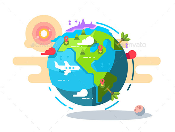 Plane Flying Around the World Geometric Style - Miscellaneous Vectors