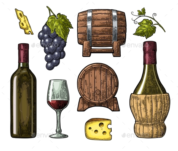 Wine Set - Food Objects