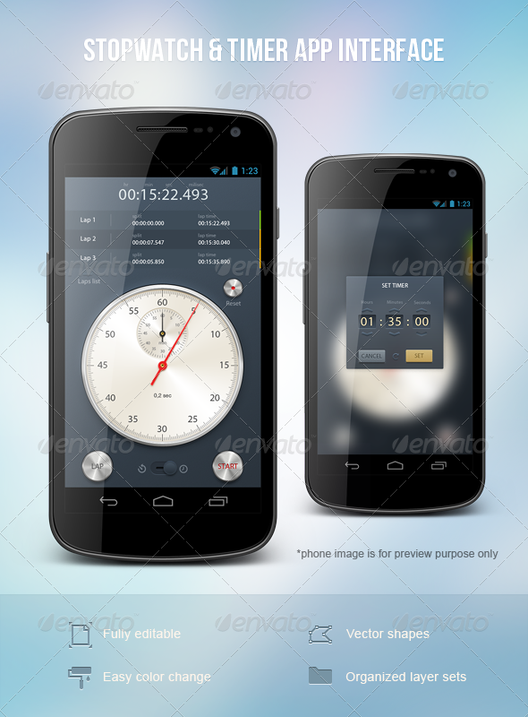 Stopwatch & Timer App Interface - User Interfaces Web Elements