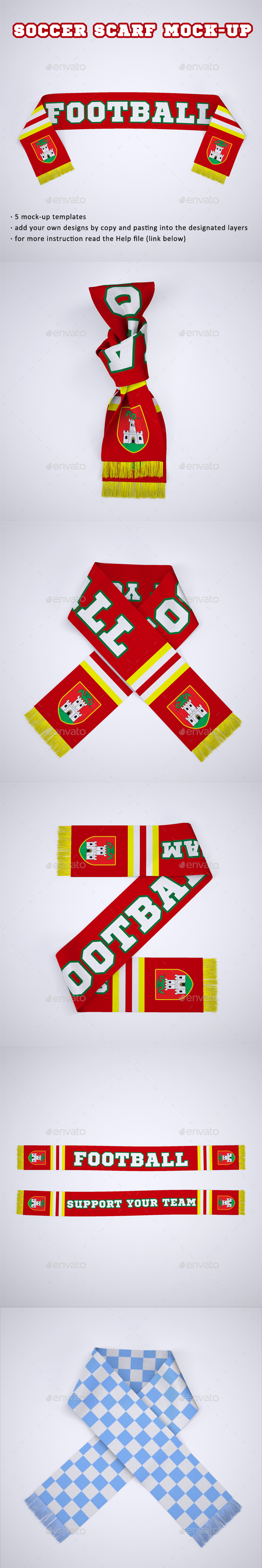 Soccer, Football Fan Scarf Mock-Up - Product Mock-Ups Graphics