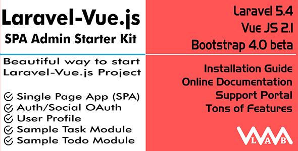 Laravel Vue.js SPA Admin Starter Kit