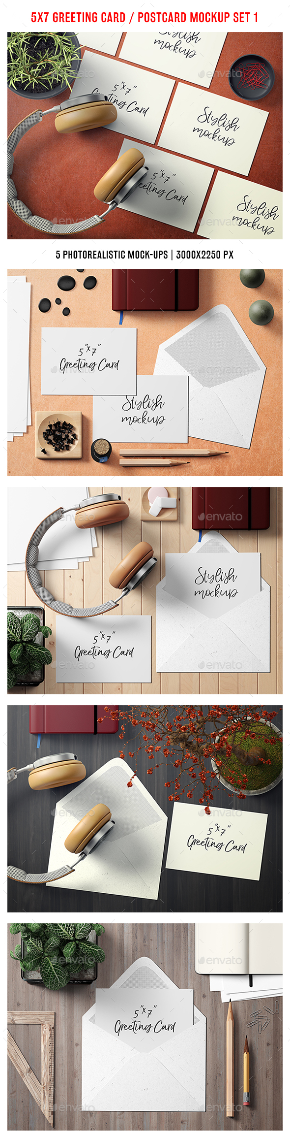 5x7 Greeting Card / Postcard Mockup Set 1 - Stationery Print