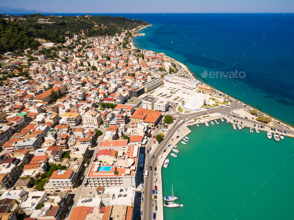 Aerial  view of Zakynthos city in  Zante island, in Greece - Stock Photo - Images